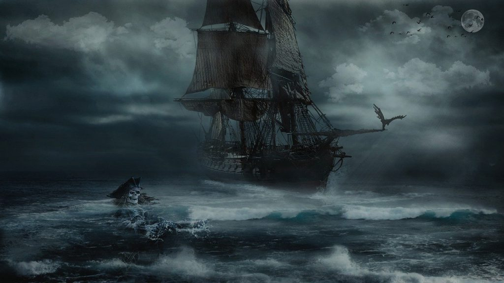 a moody image of a pirate ship and skeletal pirate in the water at night