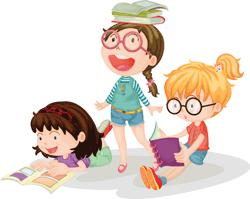 children at storytime clip art