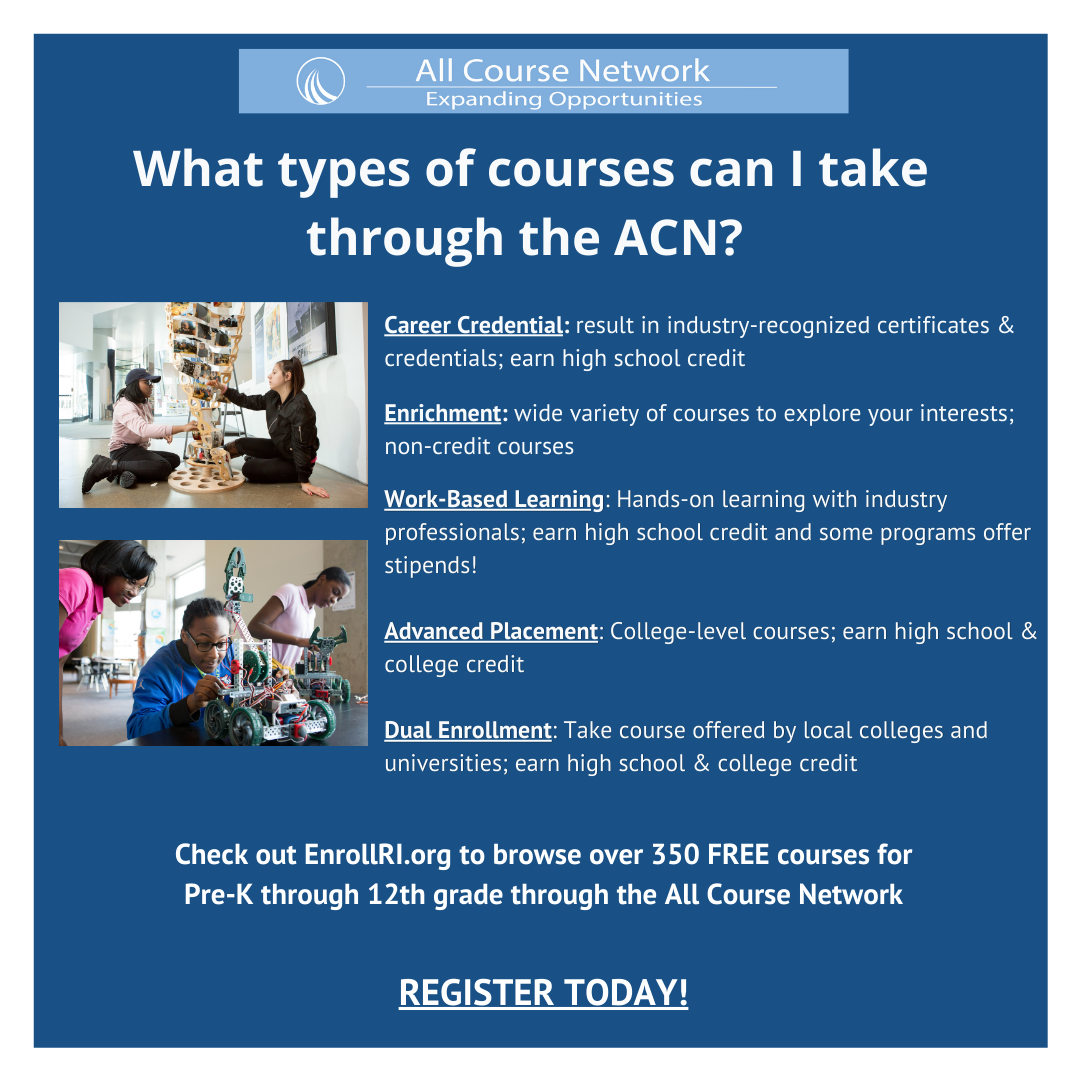 Text reads: What types of courses can I take through the ACN? Career Credential: result in industry-recognized certificates and credentials; earn high school credit Enrichment: wide variety of courses to explore your interests; non-credit courses Work-Based Learning: Hands-on learning with industry professionals; earn high school credit and some programs offer stipends Advanced Placement: College-level courses; earn high school & college credit Dual Enrollment: Take course offered by local colleges and universities; earn high school & college credit. Check out EnrollRI.org to browse over 350 free courses for Pre-K through 12th grade through the All Course Network. Register today!
